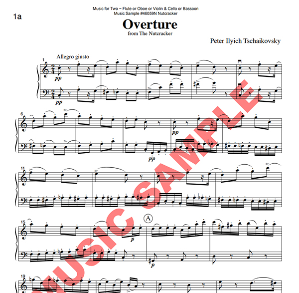 Music for Two - The Nutcracker Set 1 - Flute or Oboe or Violin & Cello or Bassoon