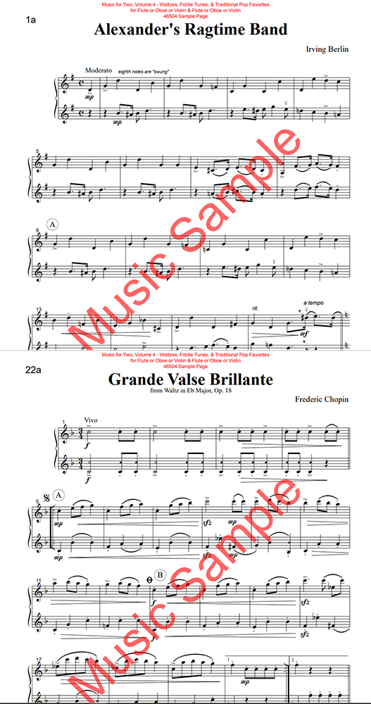 Music for Two Waltzes and Pop Vol 4 oboes