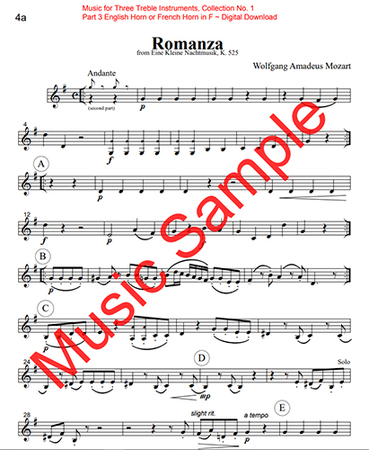 Music for Three Treble Instruments - Collection No. 1: Wedding & Classical Favorites - Part 3 - English Horn or French Horn in F - Digital Download