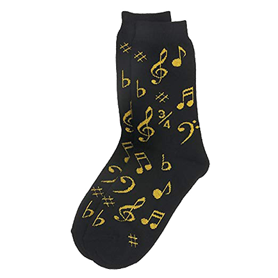 Ladies black and gold music note socks