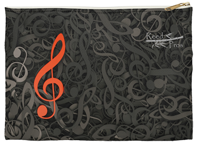 Red Treble Clef with Black Background Accessory Tool Pouch