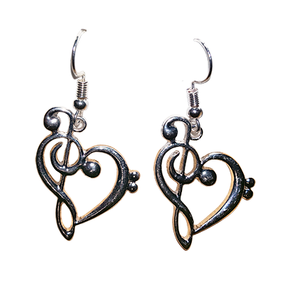 Treble Bass Clef Heart Earrings